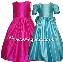 Flower girl dresses Style #318 shown in Boing Hot Pink and Tiffany Blue