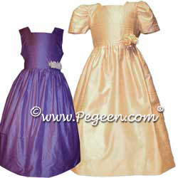 Flower Girl Dress Style 319 shown in Periwinkle and Toffee Champagne