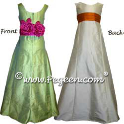 Jr. Bridesmaids Dress Style 320 Shown in Apple Green and Pumpkin