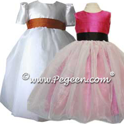 white organza flower girl Dresses 326 shown in Blush Pink and Periwinkle Blue
