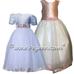 Petal Flower Girl Dresses 331(shown in Denim Blue & Peach)