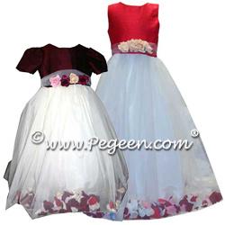 Flower Girl Dresses 333 (shown in Burgundy & Christmas Red)