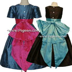 Silk Flower Girl Dresses 345 shown in Salmon and Euro Lilac