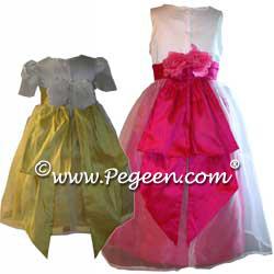 Silk Flower Girl Dresses 350 (shown in Sunflower Yellow & Shock Pink)