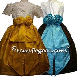 Sequin silk Flower Girl Dresses 355 (shown in Shock Pink)