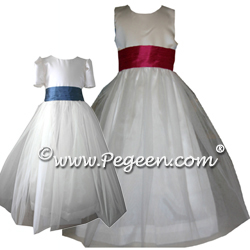 Tulle Flower Girl Dresses 356 shown in Euro Peri and Beauty cabernet