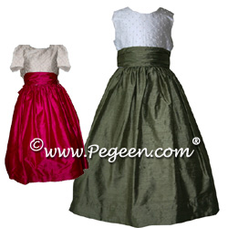 Silk and Pearl Flower Girl Dress Style 370 (Shown in Raspberry and Sage)