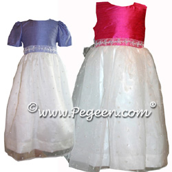 Flower girl dresses with sparkle organza skirt. Shown in Euro Peri and Shock Pink