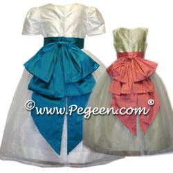 Cinderella Flower Girl Dresses 394 (Shown in Pumpkin Orange and Harvest Green)