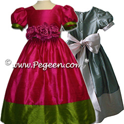 two tone silk flower girl dresses with 2 colors, shown in raspberry and grass green