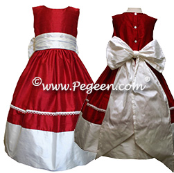 Flower Girl Dresses 404 (Shown in Christmas Red & Antique White)