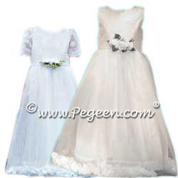 First Communion Dress with Tulle and Petals and Aloncon Lace Style 962