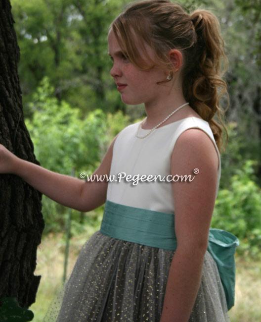 Aqua chocolate waterfall tulle junior bridesmaids dress