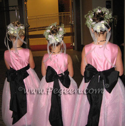 Pink and black flower girl dresses by Pegeen.com