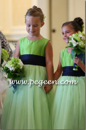 Lime green and navy blue silk couture flower girl dresses