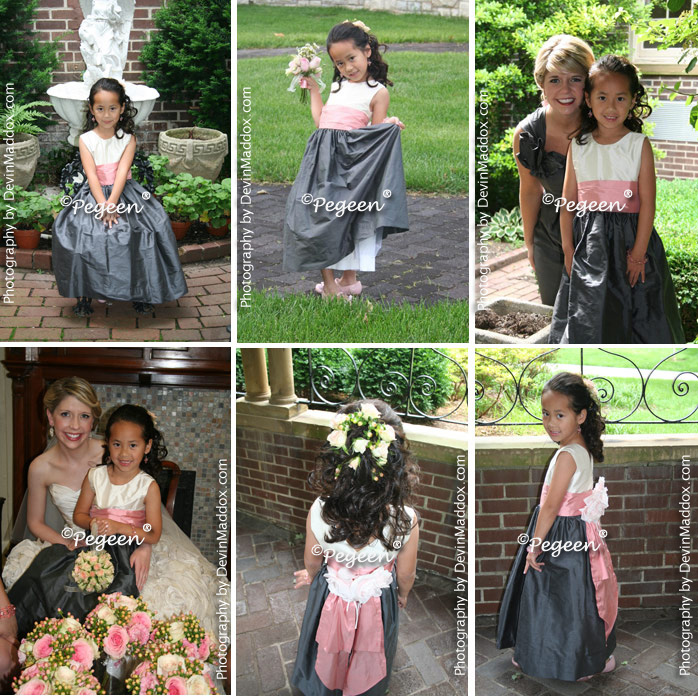 Pewter gray and woodrose pink silk flower girl dresses by pegeen gray and pink flower girl dress of the month by pegeen mightylinksfo