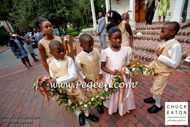3c299cc457 Flower girl Dress and Ring Bearer Suit in Gold and Pink Silk