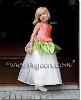 Coral and Ivory flower girl dresses