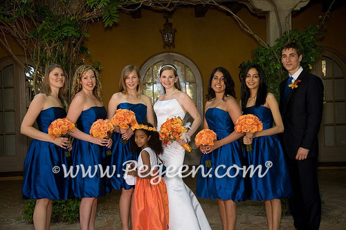 Deep Red Burnt Orange And Royal Blue Bouquet For Weddings