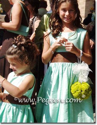 Aqua and chocolate flower girl dresses