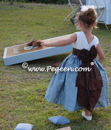 Blue and chocolate flower girl dresses - playing Bean bag Game