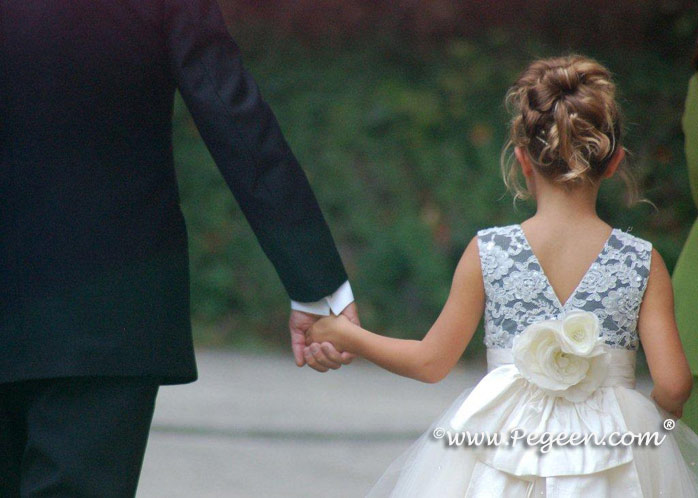 New ivory and black silk silk ballerina style FLOWER GIRL DRESSES with layers and layers of tulle