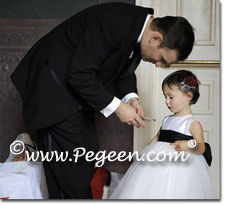 Couture Flower Girl Dresses in White and Black Tulle - Degas Style ballerina Dress