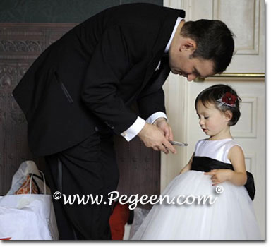 Black and white toddler tulle flower girl dresses
