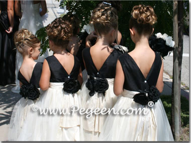 New Ivory and Black Flower Girl Dress with Bustle and Back Flowers