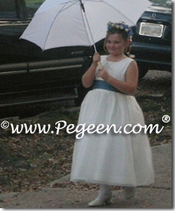 Blue and white silk plus size flower girl dresses