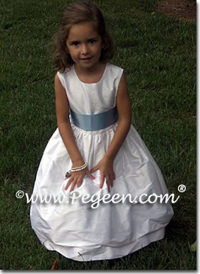 Simple white silk flower girl dress with sash to match Ann Taylor Bridesmaids
