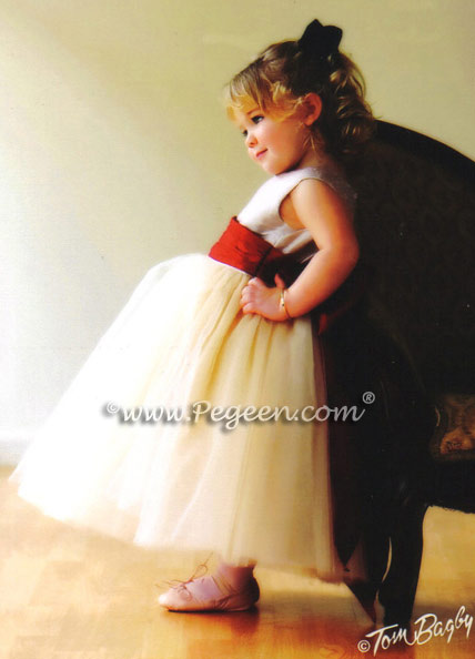 Couture flower girl dress with layers of tulle - Degas Style - in Champagne and Claret Red