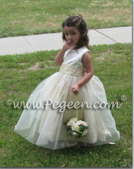 ivory, toffee and and tulle flower girl dresses
