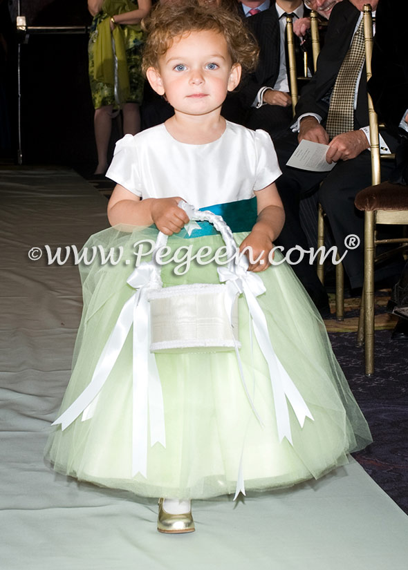 Summer green tulle and tropic silk sash with cap sleeves flower girl dresses
