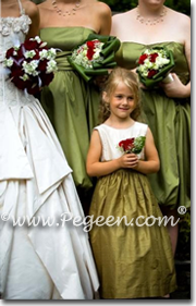 Olive green and ivory silk flower girl dresses