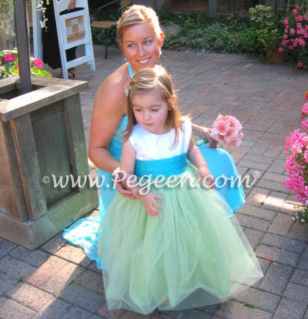 Tiffany and Lime Tulle Custom Flower Girl Dresses Style 356 | Pegeen