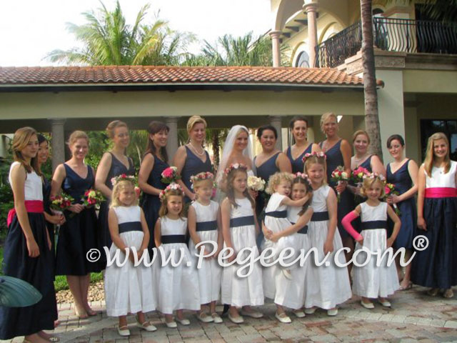Navy and Hot Pink flower girl dresses