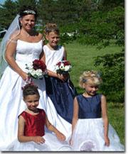 Red, white and Blue themed flower girl dresses for wedding