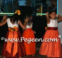 Pink raspberry and mango orange flower girl dresses