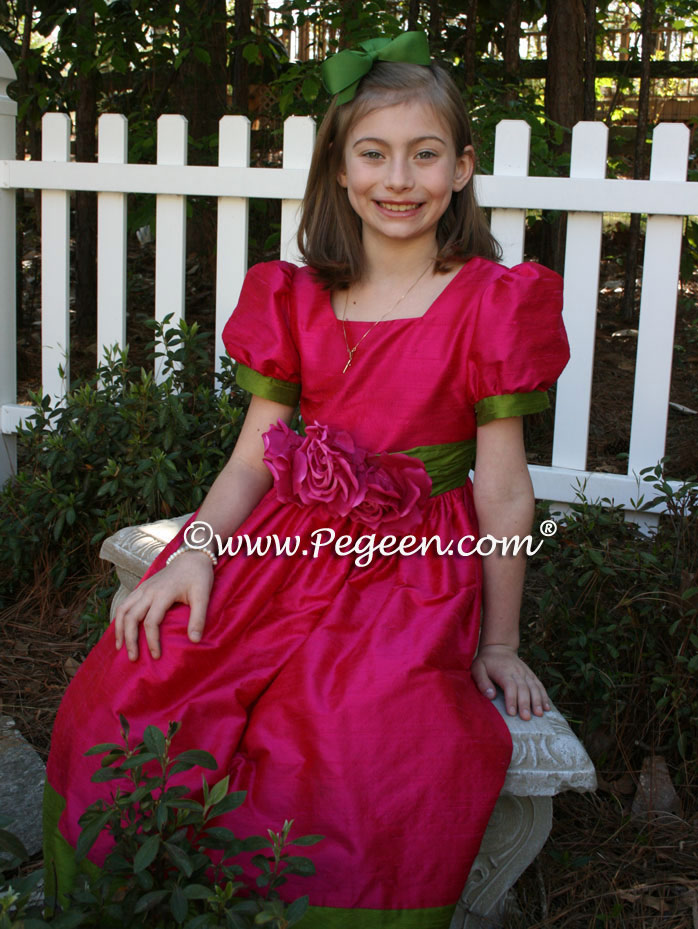 Raspberry and Green flower girl dresses