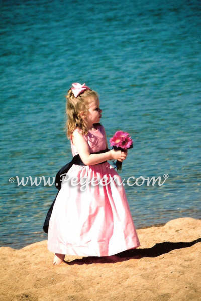 Bubblegum Pink and black flower girl dresses and ring bearer suits