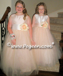 Couture Pink tulle flower girl dresses