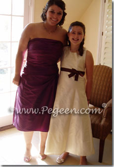 Ivory and plum purple A-Line junior bridesmaids dresses