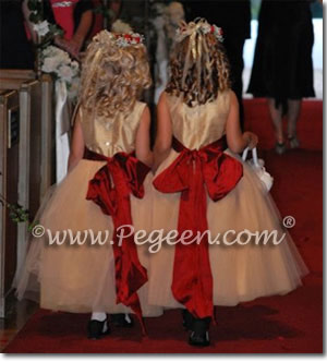 red holiday christmas flower girl dresses