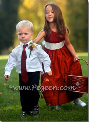 Red and ivory flower girl dresses