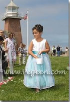 Tiffany blue and white flower girl dresses