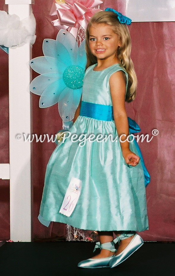 Aqualine and jewel pagent flower girl dresses