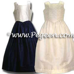 Junior Bridesmaid Skirt & Camisole #316 shown in Navy and Antique White