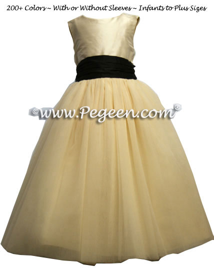 Wheat ballerina style FLOWER GIRL DRESSES with layers and layers of tulle