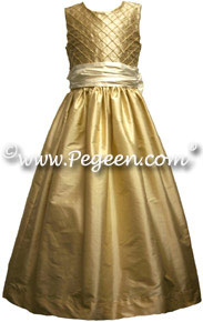 Silk Pintuck & Pearls Flower girl dresses shown in bisque and pure gold
